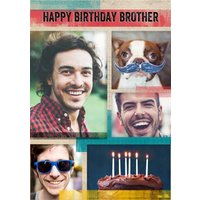 Multiple Photo Upload Brother Birthday Card , Standard Size By Moonpig