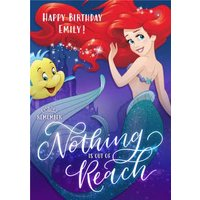 Disney The Little Mermaid Ariel And Flounder Personalised Birthday Card, Large Size By Moonpig