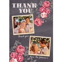 Dark Grey And Pink Roses With Double Photo Upload Wedding Thank You Card, Large Size By Moonpig