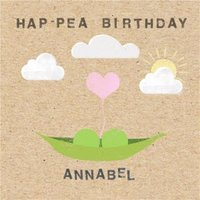 Hap-Pea Birthday Personalised Happy Card, Large Square Card Size By Moonpig