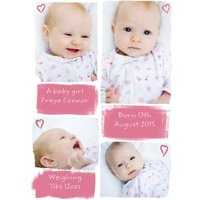 Little Hearts Personalised Photo Upload New Baby Girl Postcard, Postcard Size By Moonpig