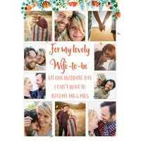 Wedding Card - For My Lovely Wife-To-Be Special Day Modern Floral Photo Upload Card, Standard Size B
