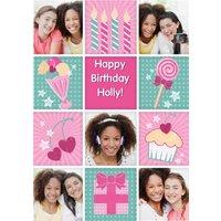 Girly Ice Cream Sundae Grid Personalised Photo Upload Happy Birthday Card, Large Size By Moonpig