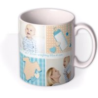 Baby Boy Collage Photo Upload Mug by Moonpig, Gift Set - Delivery Available