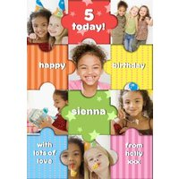 Rainbow Puzzle Personalised Photo Upload Happy 5th Birthday Card, Standard Size By Moonpig