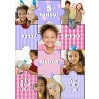 Pastel Puzzle Pieces Kids Happy Birthday Multi-Photo Card, Large Size By Moonpig