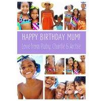 Purple Multi-Photo Birthday Card, Standard Size By Moonpig