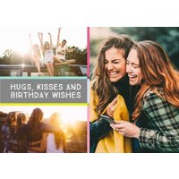 Colourful Grid Multi-Photo And Personalised Text Card, Large Size By Moonpig