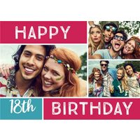 Colourful Grid Multi-Photo 18Th Birthday Card, Giant Size By Moonpig