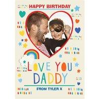 Love You Daddy Photo Upload Birthday Postcard, Postcard Size By Moonpig