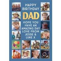 Happy Birhday Dad Multiple Photo Upload Birthday Card, Large Size By Moonpig