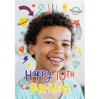 Fun Modern Photo Upload 10th Birthday Card, Standard Size By Moonpig