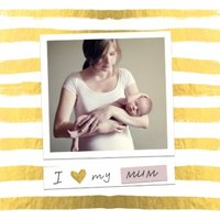 Mother's Day Card Gold Stripe Photo Upload Card, Large Square Size By Moonpig