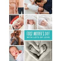 Bright Aqua Multi Photo Happy First Mother's Day Card, Large Size By Moonpig