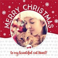 Merry Christmas To The Cat Photo Upload Card, Large Square Card Size By Moonpig