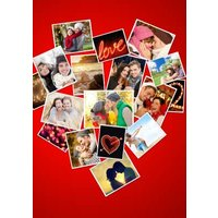 Photo Heart Valentine's Card - Use Your Own Photos To Create This Shaped Day Collage Card, Large Siz