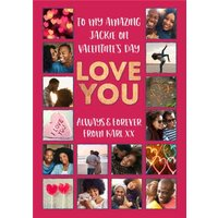 Love You Multiple Photo Upload Valentines Card, Standard Size By Moonpig
