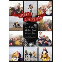 Snowflake Collage Photo Upload Christmas Card, Standard Size By Moonpig