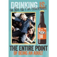 The Point Of Being An Adult Personalised Photo Upload Birthday Card, Large Size By Moonpig