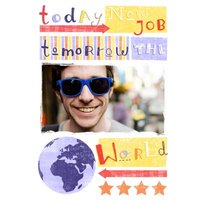 Today New Job Tomorrow The World Personalised Photo Upload Card, Giant Size By Moonpig