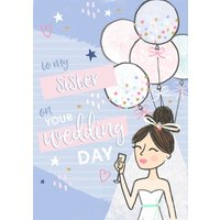 To My Sister On Your Wedding Day Modern Card, Standard Size By Moonpig