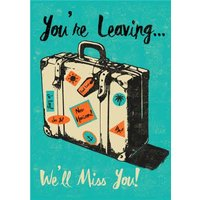 'Suitcase We'll Miss You Leaving Card, Large Size By Moonpig