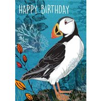 Floral Pattern Puffin Birthday Card, Large Size By Moonpig