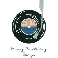 British Record Player Personalised Happy Birthday Card, Giant Size By Moonpig