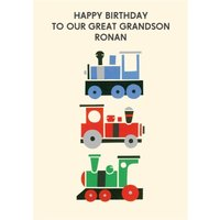 Colourful Trains Personalised Happy Birthday Great Grandson Card, Standard Size By Moonpig