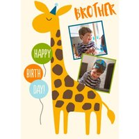 Giraffe Brother Happy Birthday Photo Upload Card, Standard Size By Moonpig