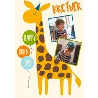 Giraffe Brother Happy Birthday Photo Upload Card, Standard Size By Moonpig