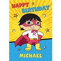 Ryan's World Bright Superhero Birthday Card, Standard Size By Moonpig