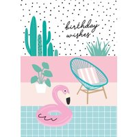Colourful Pool And Flamingo Birthday Wishes Card, Standard Size By Moonpig