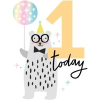 One Today Bear And Balloon Card, Standard Size By Moonpig