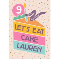 Shape Stack Graphic Slice Of Cake 9th Birthday Card, Giant Size By Moonpig