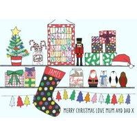 Shelfie Personalised Christmas Card, Standard Size By Moonpig