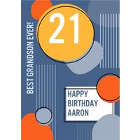 Best Grandson Ever Happy 21st Birthday Card, Standard Size By Moonpig