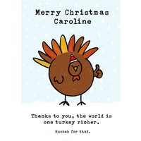 Funny Vegetarian Vegan One Turkey Richer Christmas Card, Giant Size By Moonpig