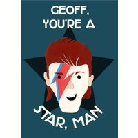Funny Paper Cut David Bowie Birthday Card, Giant Size By Moonpig