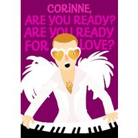 Cartoon Elton John Are You Ready For Love Valentine's Day Card, Large Size By Moonpig
