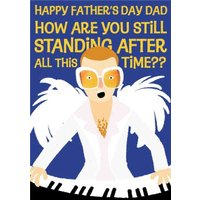 Elton John Cartoon You Are Still Standing Father's Day Card, Large Size By Moonpig