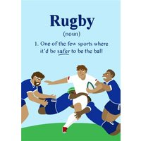 Funny Rugby Birthday Card Safer To Be The Ball, Standard Size By Moonpig