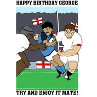Funny English England Rugby Team Birthday Card Try And Enjoy It Mate!, Giant Size By Moonpig