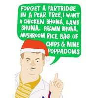 Funny Gavin And Stacey James Corden Indian Takeaway Order Christmas Card, Giant Size By Moonpig