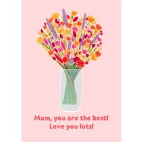 Cute Illustrated Bouquet Mum You Are The Best Card, Giant Size By Moonpig