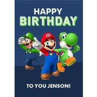 Nintendo Super Mario Luigi Toad Birthday Card, Large Size By Moonpig