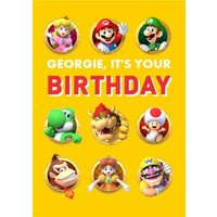 Nintendo Super Mario Characters Birthday Card, Standard Size By Moonpig