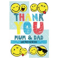 Smiley World Thank You Mum And Dad Card, Large Size By Moonpig