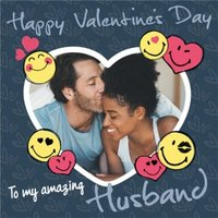 Smiley World Happy Valntines Day To My Amazing Husband Photo Upload Valentines Card, Large Square Ca