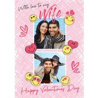 Smiley World With Love To My Wife Photo Upload Valntines Card